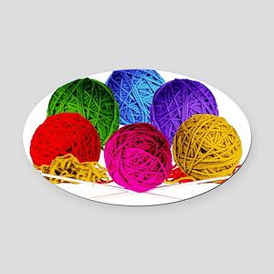 Great Balls of Bright Yarn! Oval Car Magnet