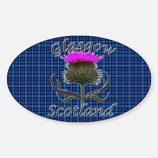 Glasgow Scotland blue tartan thistl Sticker (Oval)