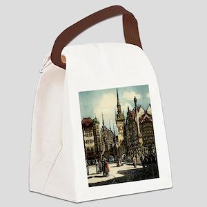 Munich Engraving Canvas Lunch Bag