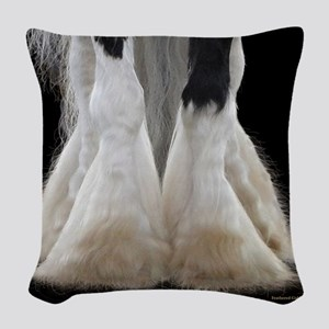Feathered Gold Stables Woven Throw Pillow
