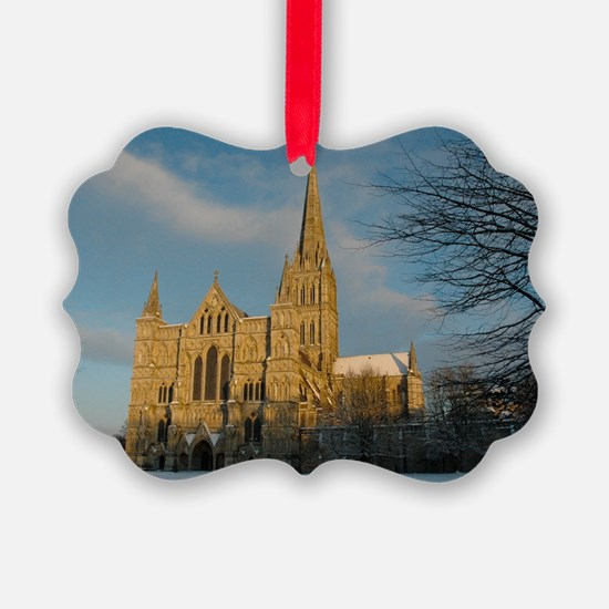 Salisbury Cathedral in the Snow Ornament