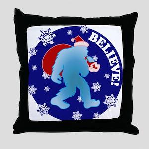 Yeti Santa Believe Throw Pillow