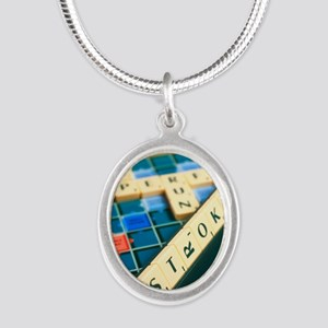 Stroke Silver Oval Necklace