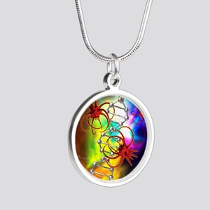 Viruses attacking a cell's D Silver Round Necklace