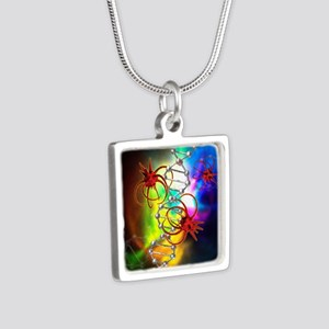 Viruses attacking a cell's Silver Square Necklace