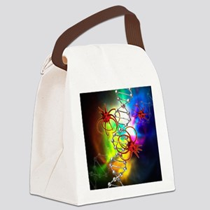 Viruses attacking a cell's DNA Canvas Lunch Bag