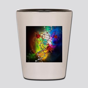 Viruses attacking a cell's DNA Shot Glass