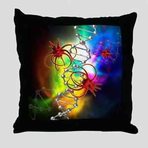 Viruses attacking a cell's DNA Throw Pillow
