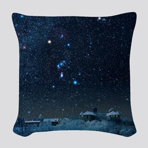 Winter sky with Orion constell Woven Throw Pillow