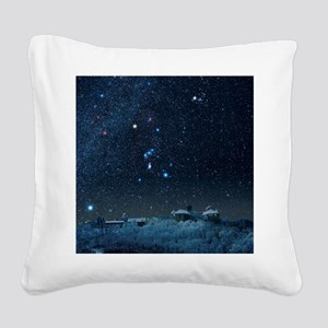 Winter sky with Orion constel Square Canvas Pillow