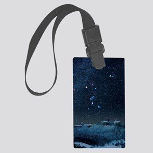 Winter sky with Orion constellat Large Luggage Tag