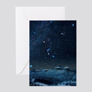 Winter sky with Orion constellation Greeting Card