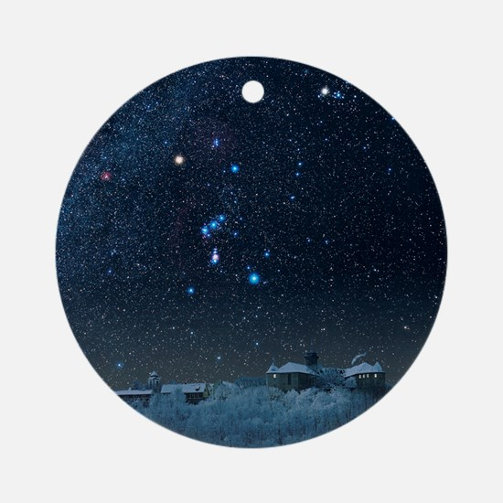 Winter sky with Orion constellation Round Ornament
