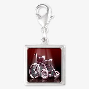 Wheelchair Silver Square Charm