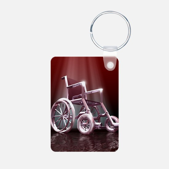 Wheelchair Aluminum Photo Keychain