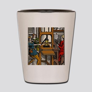 16th century printing press Shot Glass