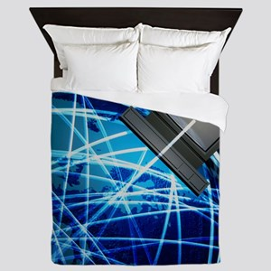 Abstract artwork of the Internet aroun Queen Duvet