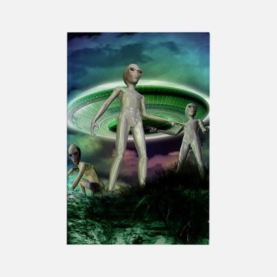 Alien invasion Rectangle Magnet