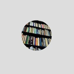Books on bookshelves Mini Button