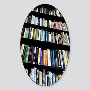 Books on bookshelves Sticker (Oval)