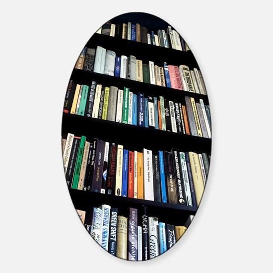 Books on bookshelves Sticker (Oval)