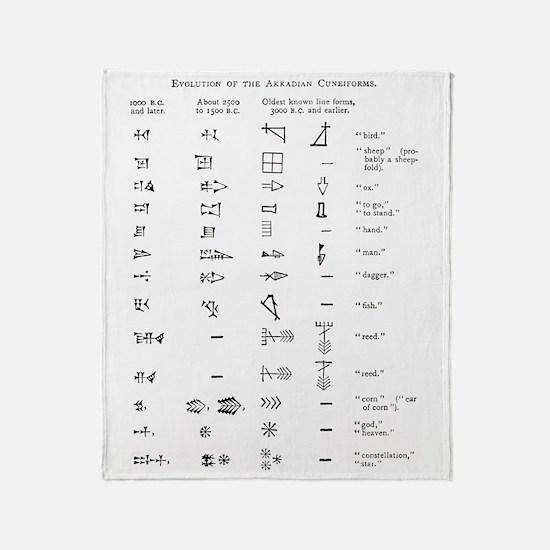 Evolution of cuneiform writing Throw Blanket