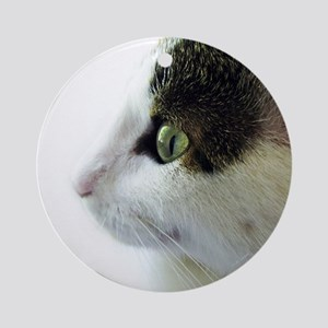 Green Eyed White Tabby Cat Profile Round Ornament