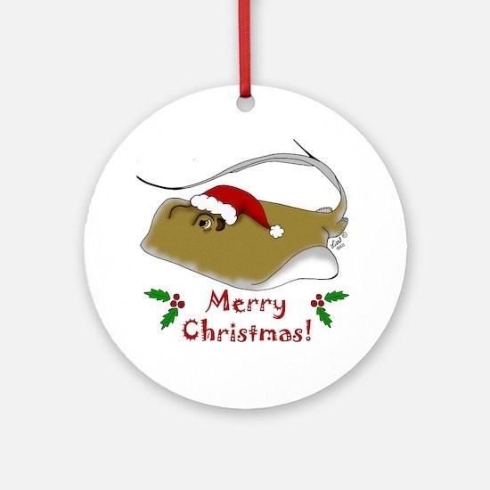 Christmas Stingray Round Ornament