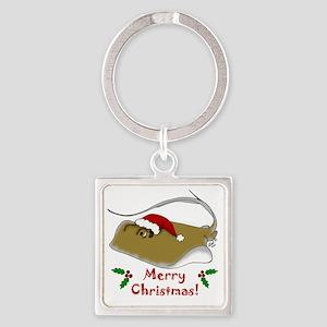 Christmas Stingray Square Keychain