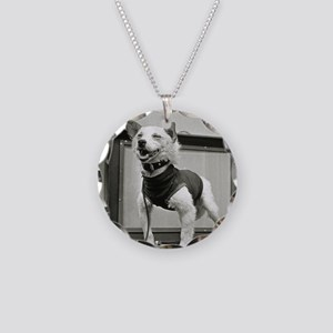 Belka, Soviet space dog, aft Necklace Circle Charm