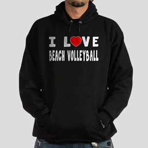 I Love Beach Volleyball Hoodie (dark)