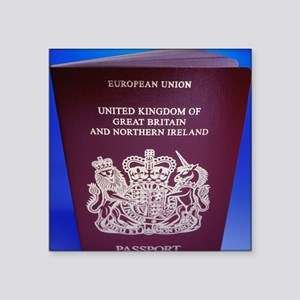 "British passport Square Sticker 3"" x 3"""