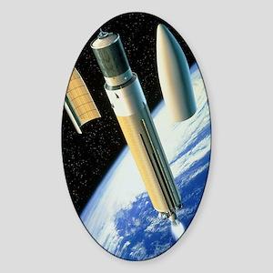 Artwork of an Ariane 5 rocket deplo Sticker (Oval)