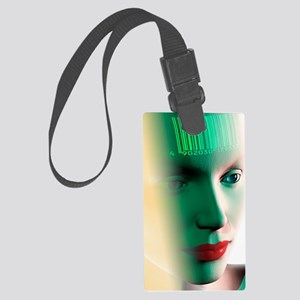 Barcode on a woman's head Large Luggage Tag