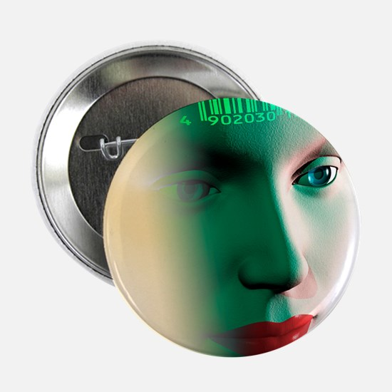"""Barcode on a woman's head 2.25"""" Button"""