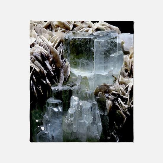Aquamarine crystals Throw Blanket