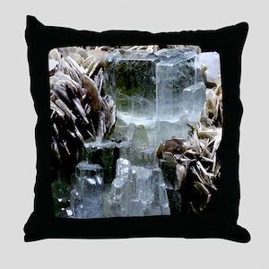 Aquamarine crystals Throw Pillow