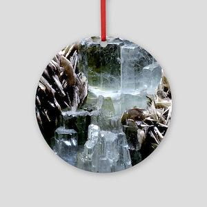 Aquamarine crystals Round Ornament