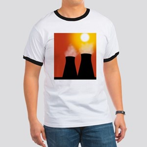 Cooling towers at sunset, artwork Ringer T