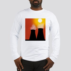 Cooling towers at sunset, artw Long Sleeve T-Shirt