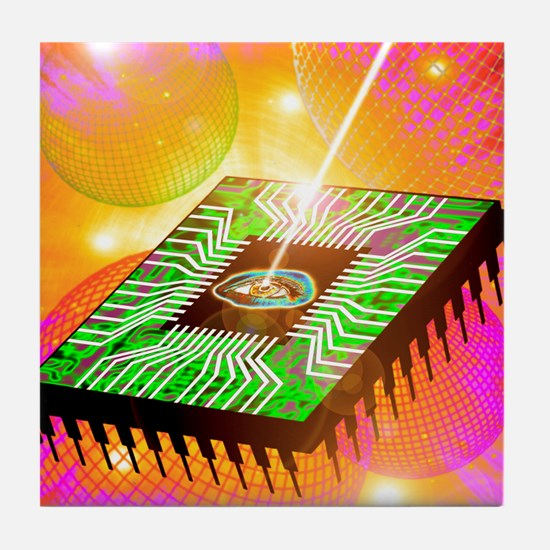 Computer artwork of light hitting eye Tile Coaster