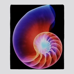 Coloured X-ray of the Nautilus shell Throw Blanket
