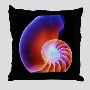 Coloured X-ray of the Nautilus shell Throw Pillow