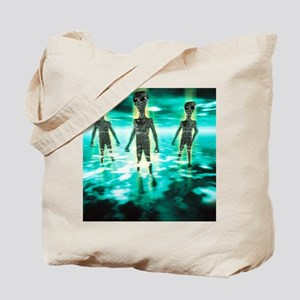 Computer artwork of aliens in a mist Tote Bag
