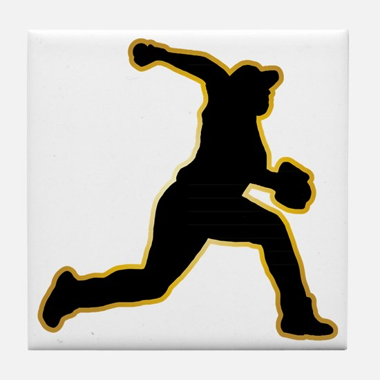 Baseball-Pitcher-AD Tile Coaster