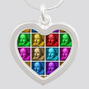 Pop Art Shakespeare Silver Heart Necklace