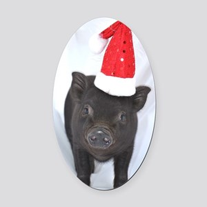 Micro pig with Santa hat Oval Car Magnet