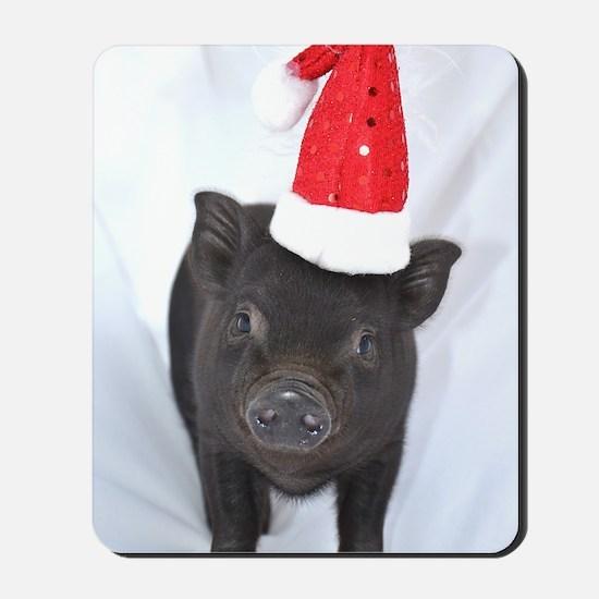 Micro pig with Santa hat Mousepad