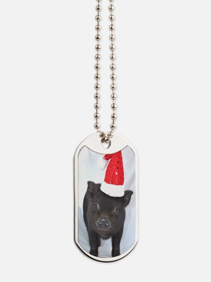Micro pig with Santa hat Dog Tags