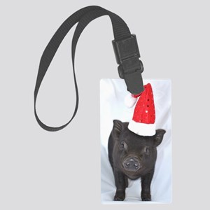 Micro pig with Santa hat Large Luggage Tag